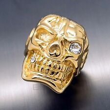 MENS Huge Heavy Gold Skull Cigar CZ 316L Stainless Steel Biker Ring