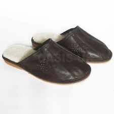 Sheep Wool Men Slippers 100% Natural Leather Colour Dark Brown