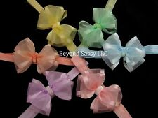 Baby Girls Easter Pastel Sheer Organza Glitz Hair Bow Headband Clip U PICK Color