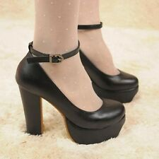New Women Fashion Ankle Strap Round Toe High Heels Platform Classic Pumps Shoes