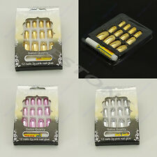 New 12PCS 3D Pre-design French Acrylic False Nail Tips 3 Colors For Choice