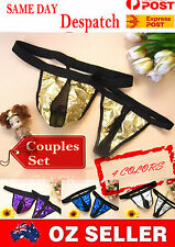 2 Open Crotch Thongs V-string PANTY PVC Leather Men Womens Couples Sexy Lingerie