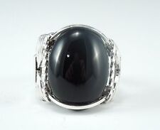 Sterling Silver Black Onyx Cabochon Wire Wrapped Ring