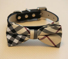 Plaid Burly wood Dog bow tie collar leather collar pet accessory USA Seller