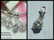EUROPEAN OR LOBSTER CLASP CLIP ON STYLE APRIL'S BIRTHSTONE CLEAR CRYSTAL CHARMS