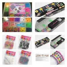 Loom rubber band bracelet kits solid bright colour rubber bands, hook tool