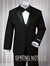 Formal Boy Kids Dress Suit Set Tuxedo no Tail Satin Lapel Black