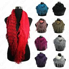 Women's Duo Tone Color Style Cowl Fringe Net Tunnel Infinity Scarf Neck Warmer