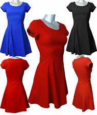 New Ladies Flared Party Skater Dress  UK Size (10 - 18)