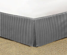 GRAY STRIPED TAILORED BED SKIRT 1000 TC 100% COTTON CHOOSE DROP LENGTH +SIZE
