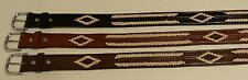 """Western Belt 1.5"""" Wide w/ Contrasting Center and Diamond-shaped Leather Braid"""