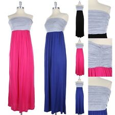 Two Tone Color Block Strapless Tube Maxi Dress Side Shirring Full Length S M L