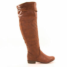 Odell02 Chestnut Leatherette Slouchy Knee High Equestrian Riding Boot Women Shoe