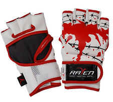 Raven MMA UFC Grappling Fight Glove Durable Leather Blood Splatter Budget Cheap