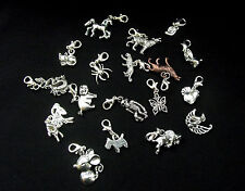 Animal Clip on Charms for Bracelet - Zoo Animals, Pets - Tibetan Silver
