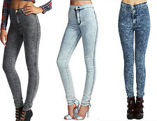 WOMENS LADIES SUPER SKINNY FIT HIGH WAIST ACID WASH JEANS SIZE 6-14