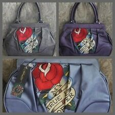 Ed Hardy DEMI HATTIE Satchel Purse MY TRUE LOVE FOREVER Bag Blue Purple Pewter