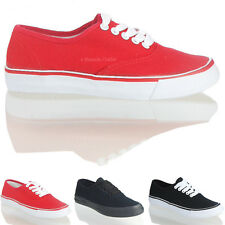 NEW WOMENS LADIES FLAT CANVAS LACE UP FRONT CASUAL TRAINER PLIMSOLE SHOES SIZE
