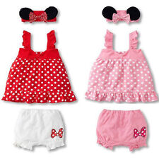 3PCS Girls Baby Infant Headband+Top+Pants Bloomers T-Shirt Outfits Clothes 0-18M