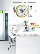New Unique DIY Stick on the Wall Clock In Colourful Plate Diner Set For Kitchen