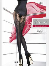 Lace Mock Suspender with Back Seam Sexy 40 Denier Tights by Fiore GLADIS Hosiery