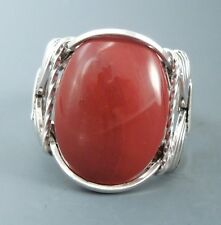 Sterling Silver Red Jasper Wire Wrapped Ring
