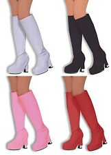 WOMENS GO GO BOOT COVERS 1960'S 1970'S HIPPY FANCY DRESS ACCESSORY 4 COLOURS