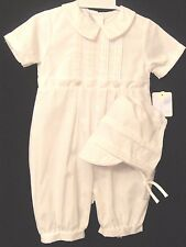 Petit Ami  3704 Boys Dressy White Romper with Cap  and Tucks 12, 18, 24 M  NWT