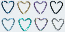 DAITH HEARTS TITANIUM COATED STEEL CONTINUOUS HEART RING RIM PIERCING HOOPS