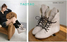 New Fasion Women's Flat Heel Lace Up Hairy Shoes Ankle Boots US All Size B620
