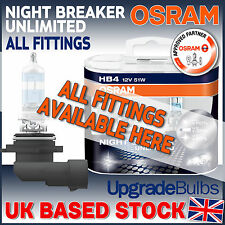 Osram Night Breaker Unlimited Car Bulbs In H1 H3 H4 H7 H11 HB3 HB4 Fittings