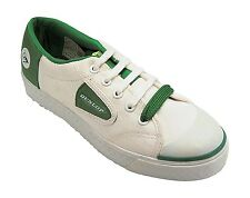 MENS DUNLOP GREEN FLASH CANVAS WHITE RUBBER SOLE TRAINERS FAB605