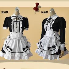 Ladies French Maid Outfit Waitress Fancy Dress Ruffle Costume Lolita Cosplay New