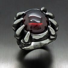 Mens Solid Dragon Claw Ruby Red Cubic Zirconia 316L Stainless Steel Biker Ring