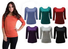 NEW Quelque by FILO 3/4 Sleeve Fitted Cotton Layering Top SIZE 8 10 12 14 16 18