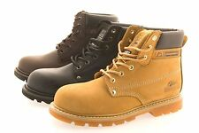 MENS LEATHER WORK SAFETY BOOTS HONEY STEEL TOE CAP GROUNDWORKS
