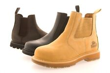 MENS GROUNDWORK LEATHER SAFETY WORK DEALER CHELSEA BOOTS STEEL TOE CAP fab18