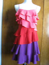 New w/tags Calvin Klein Ruffle Chiffon Women's Lined multi color Dress sz 4, 14