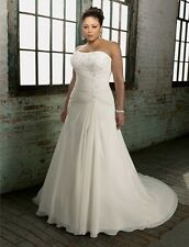 Plus Size Chiffon White/Ivory Wedding Dress X-large Custom