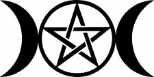 Triple Moon Vinyl Sticker Decal Goddess Wicca Pentacle Occult New Age