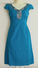 Fab Per Una Dress Kingfisher Blue Cotton Sequin And Bead Detail Size 6-16