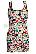 Ladies Cute Funky Colourful Buttons All Over Print Long Vest Tank Top Dress
