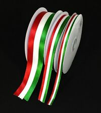 Top Quality Green White Red Stripes Satin Ribbon Polyester Craft Mexican Flag