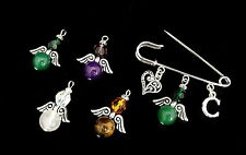 Guardian Angel Kilt Pin Brooch - Gemstone Bead - With Initial - Bag Charm