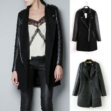 New Womens Quilted Faux Leather Sleeve Wool Blend Zip Trench Coat Jacket Black