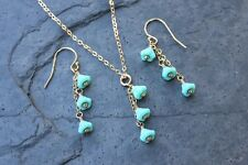 Bluebells necklace and earrings set -aqua glass flowers, 14k gold filled chain