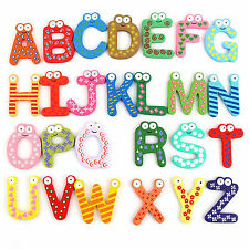 Wooden Cartoon Numbers 0-9 Alphabet Fridge Magnets for Kids Child Baby Toy Game