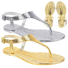 NEW LADIES WOMENS JELLY SANDALS FLAT SUMMER TOE POST THONG FLIP FLOPS SHOES SIZE