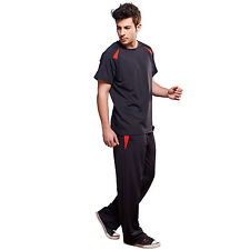 Short Sleeve Sports T-shirt Top/Straigh Leg Trousers Black GYM Outfit 3393_3696