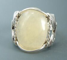 Sterling Silver Wire Wrapped Aragonite Cabochon Ring